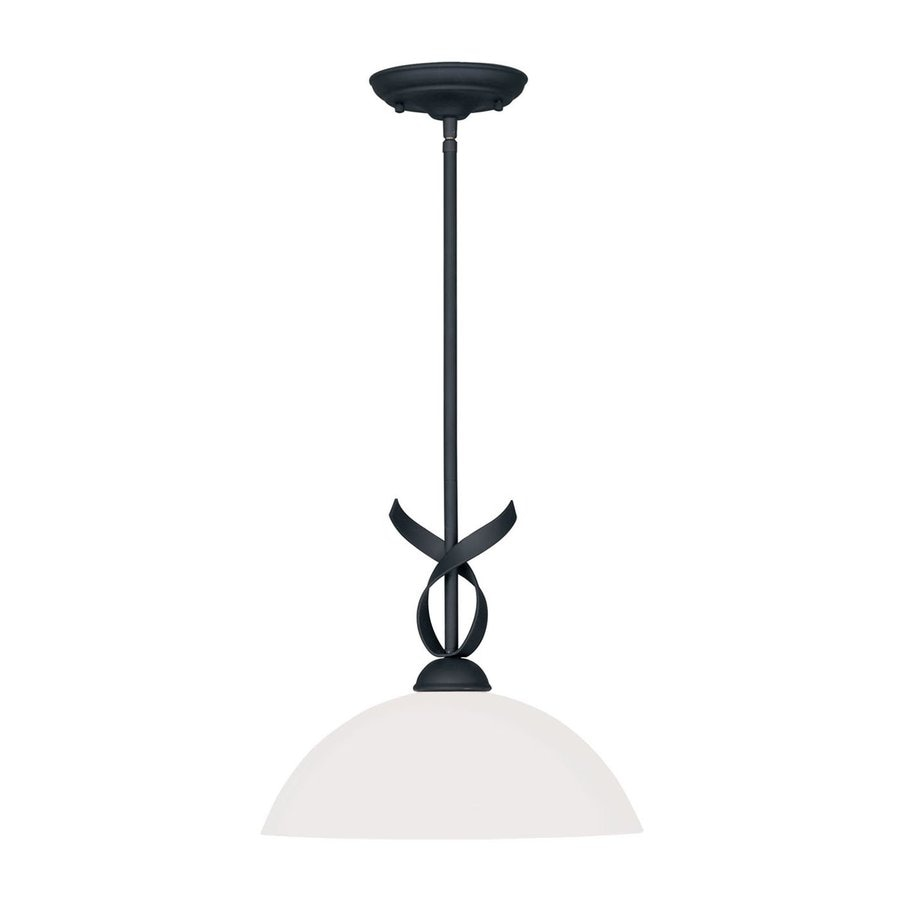 Livex Lighting Brookside 13-in Black Single Dome Pendant