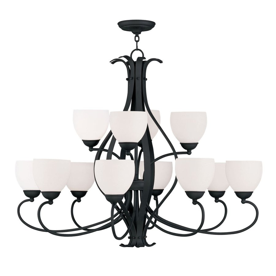 Livex Lighting Brookside 38-in 12-Light Black Wrought Iron Tiered Chandelier