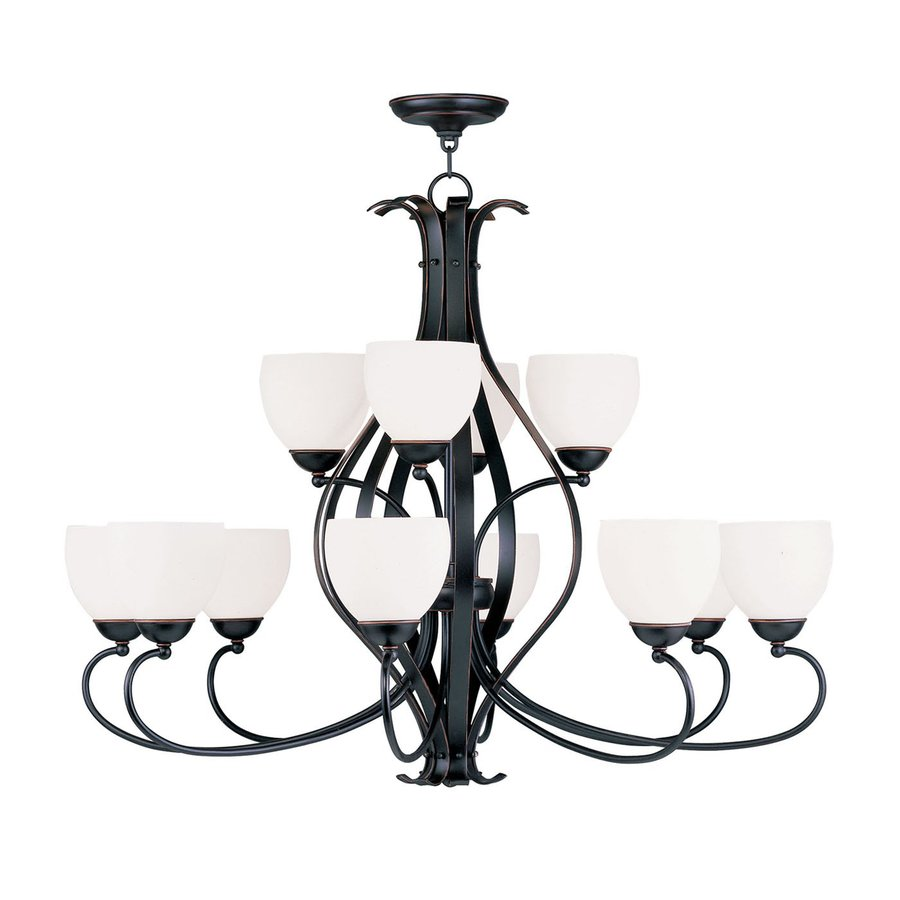 Livex Lighting Brookside 38-in 12-Light Olde Bronze Wrought Iron Tiered Chandelier