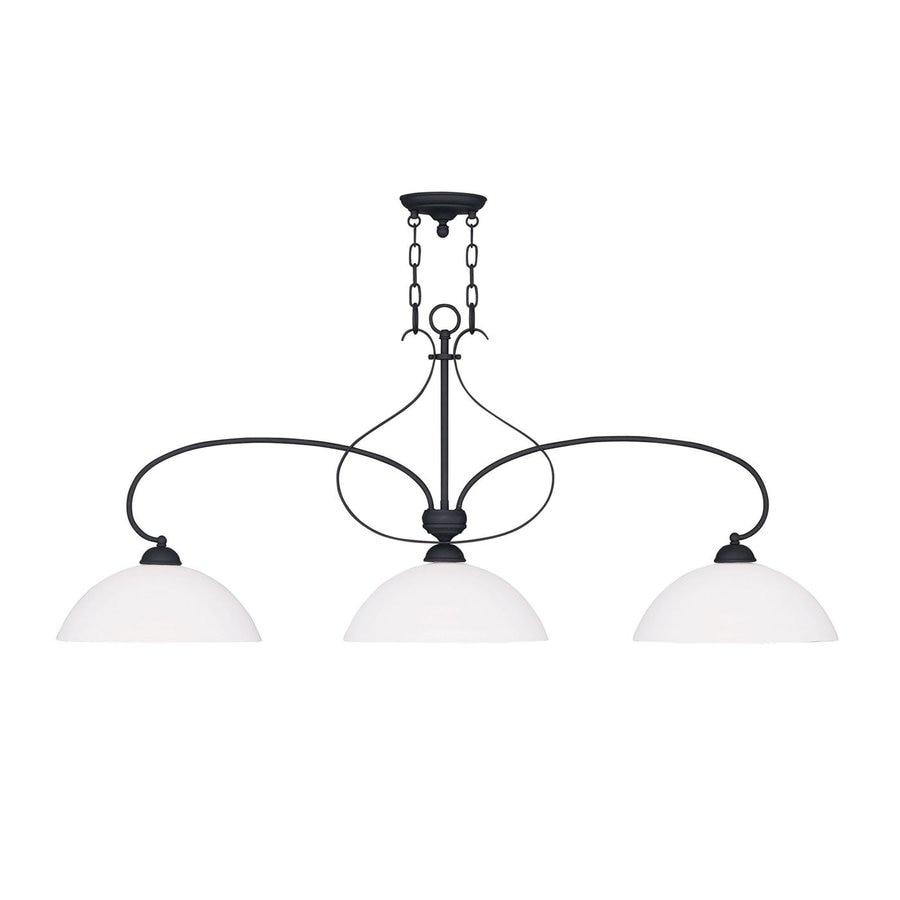 Livex Lighting Brookside 13-in W 3-Light Black Kitchen Island Light with Frosted Shade