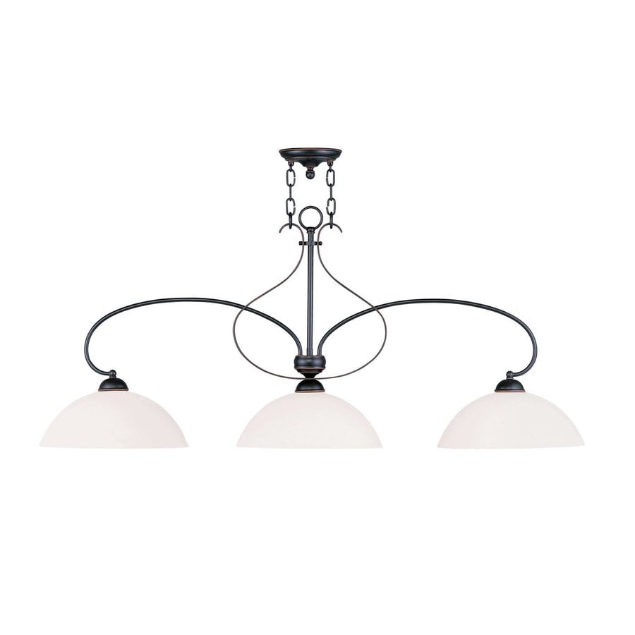 Livex Lighting Brookside 50-in W 3-Light Olde Bronze Kitchen Island Light with White Shades
