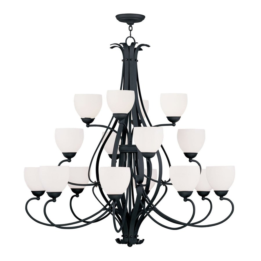 Livex Lighting Brookside 42-in 16-Light Black Wrought Iron Tiered Chandelier