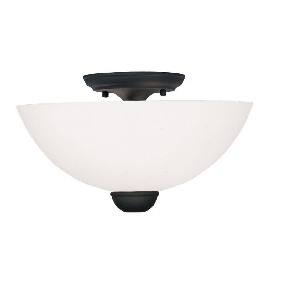 Livex Lighting Milania 13-in W Black Frosted Glass Semi-Flush Mount Light