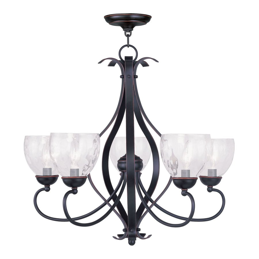 Livex Lighting Brookside 26-in 5-Light Olde bronze Wrought Iron Clear Glass Shaded Chandelier