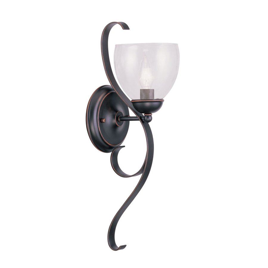 Livex Lighting Brookside 6-in W 1-Light Olde Bronze Arm Hardwired Wall Sconce