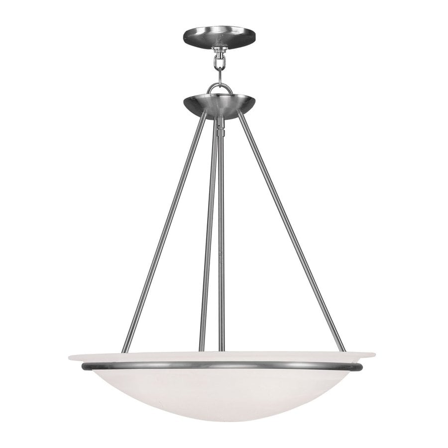 Livex Lighting Newburgh 20-in Brushed Nickel Single Alabaster Glass Bowl Pendant