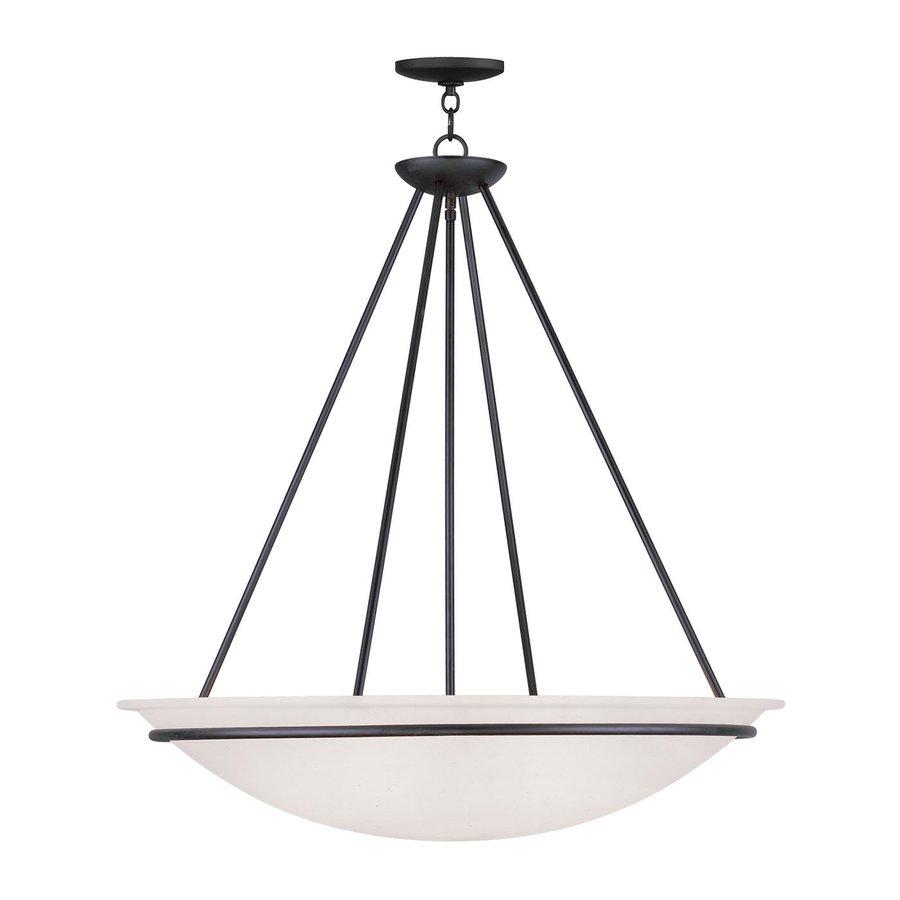 Livex Lighting Newburgh 28-in Black Single Alabaster Glass Bowl Pendant
