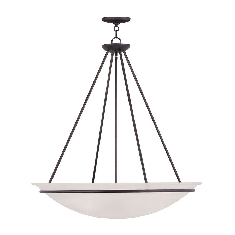 Livex Lighting Newburgh 28-in Bronze Single Alabaster Glass Bowl Pendant