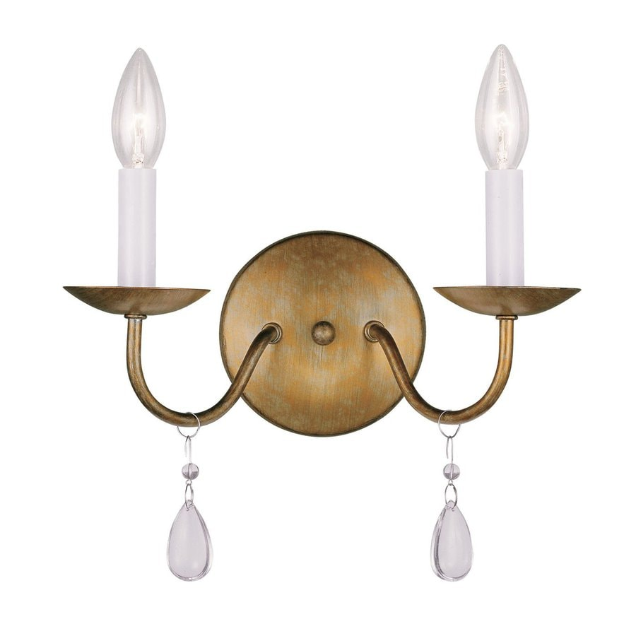 Livex Lighting Mercer 12-in W 2-Light Antique Gold Leaf Candle Hardwired Wall Sconce