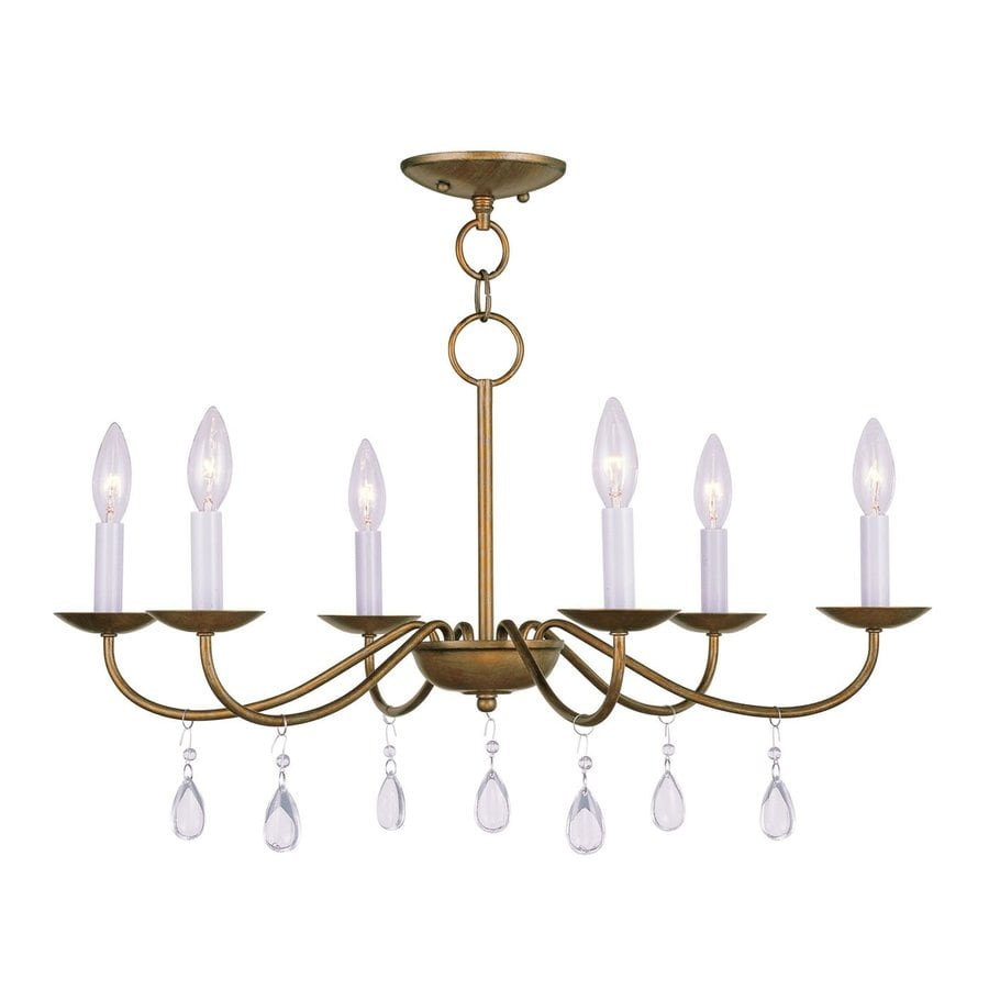 Livex Lighting Mercer 26-in 6-Light Antique Gold Leaf Vintage Candle Chandelier