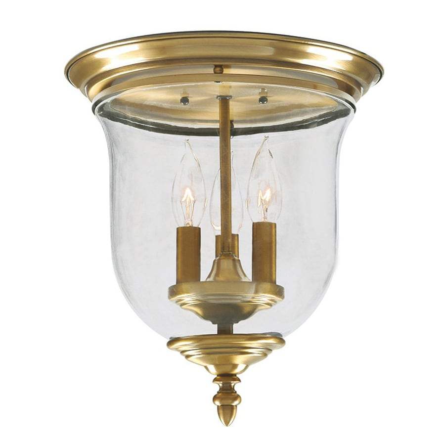 Livex Lighting Legacy 11.5-in W Antique Brass Ceiling Flush Mount Light