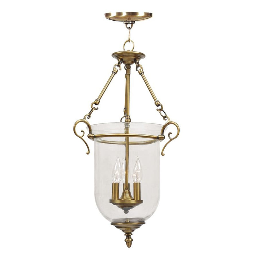Livex Lighting Legacy 14.5-in Antique Brass Vintage Single Clear Glass Urn Pendant
