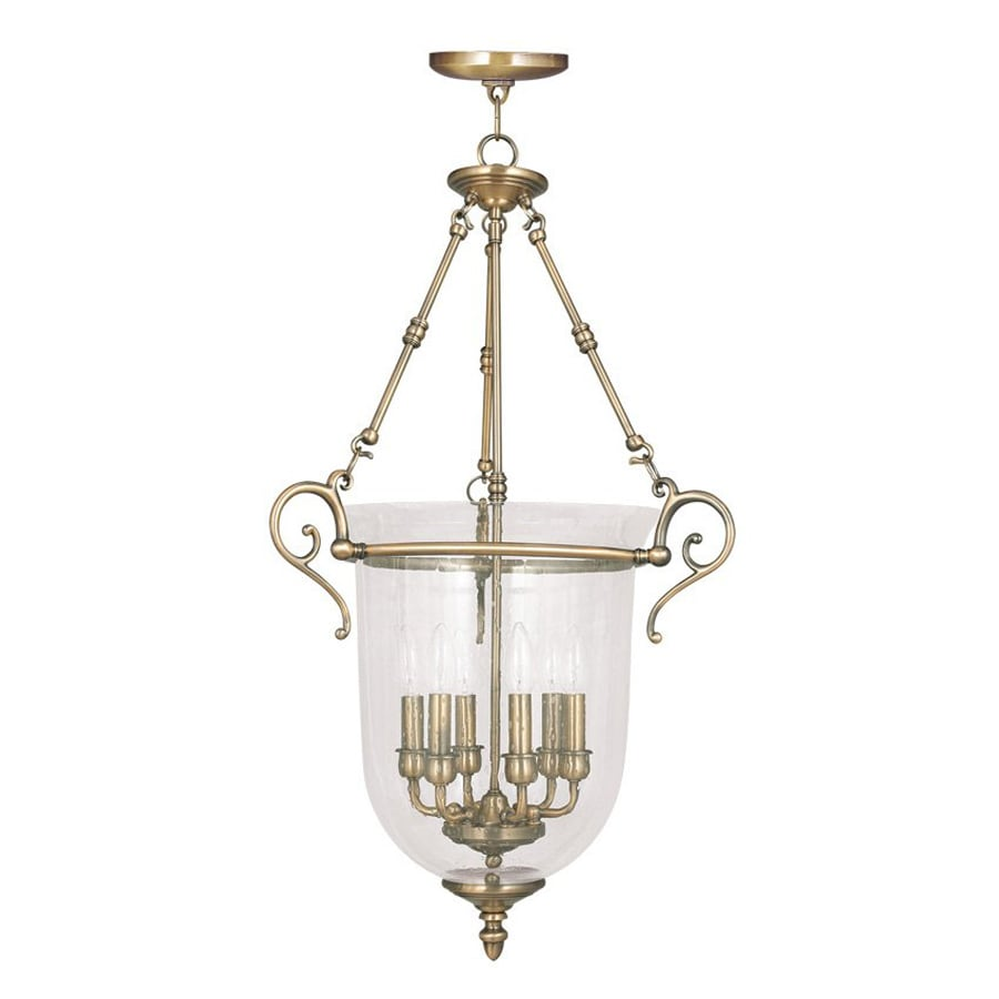 Livex Lighting Legacy 20-in Antique Brass Vintage Single Seeded Glass Urn Pendant