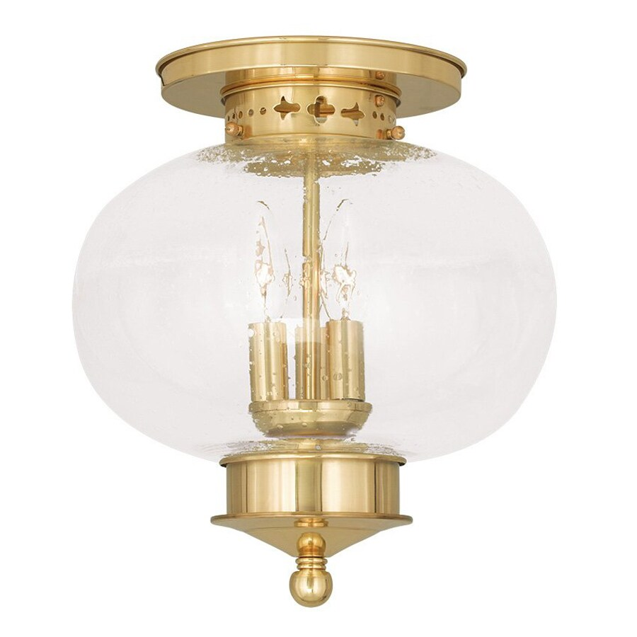 Livex Lighting Harbor 11-in W Polished Brass Ceiling Flush Mount Light