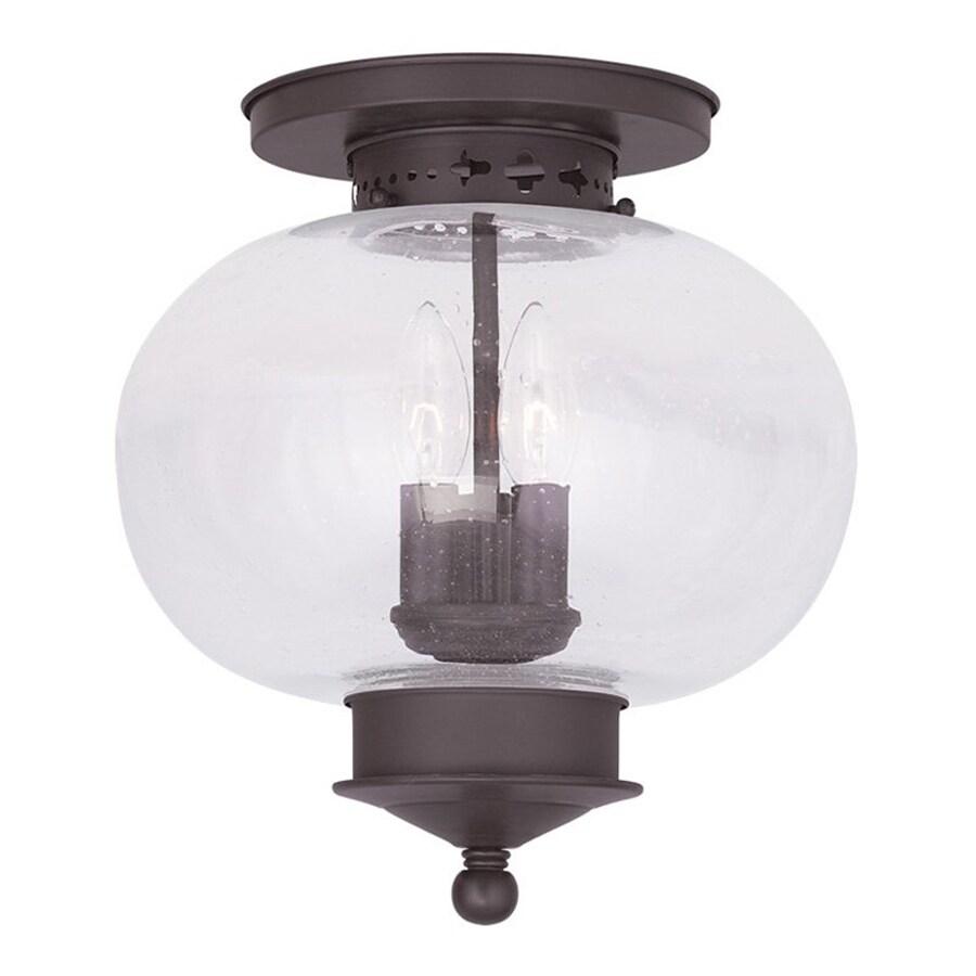 Livex Lighting Harbor 11-in W Bronze Ceiling Flush Mount Light