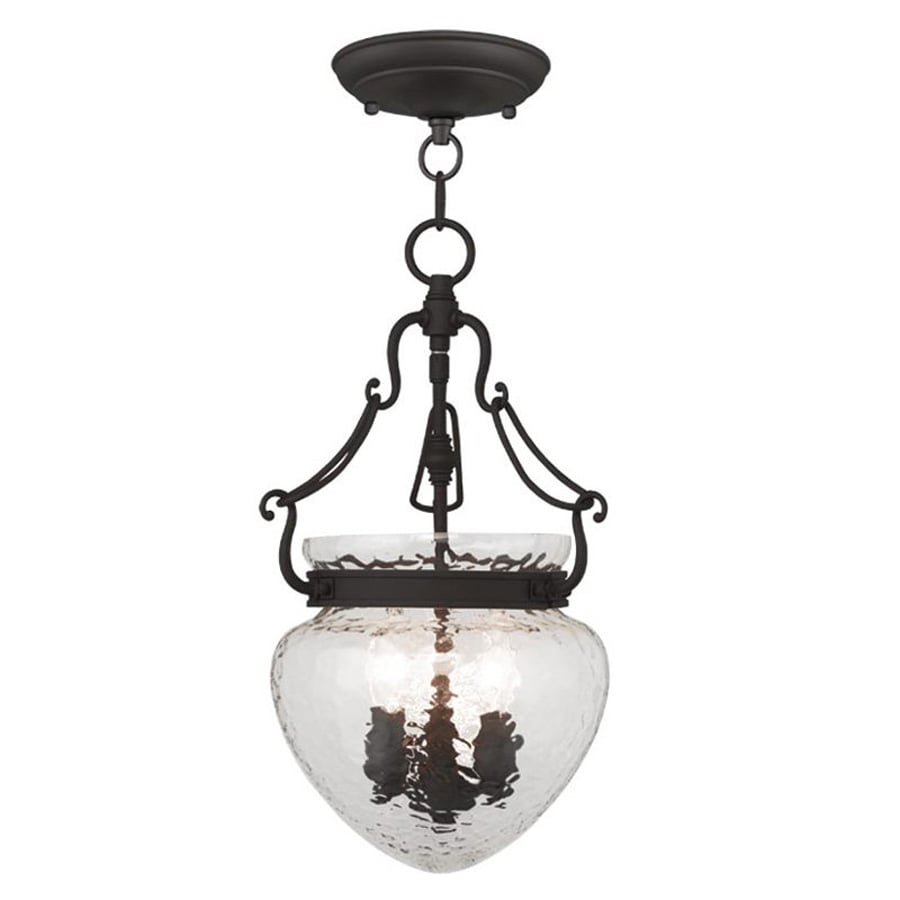 Livex Lighting Duchess 10-in Bronze Vintage Single Textured Glass Acorn Pendant