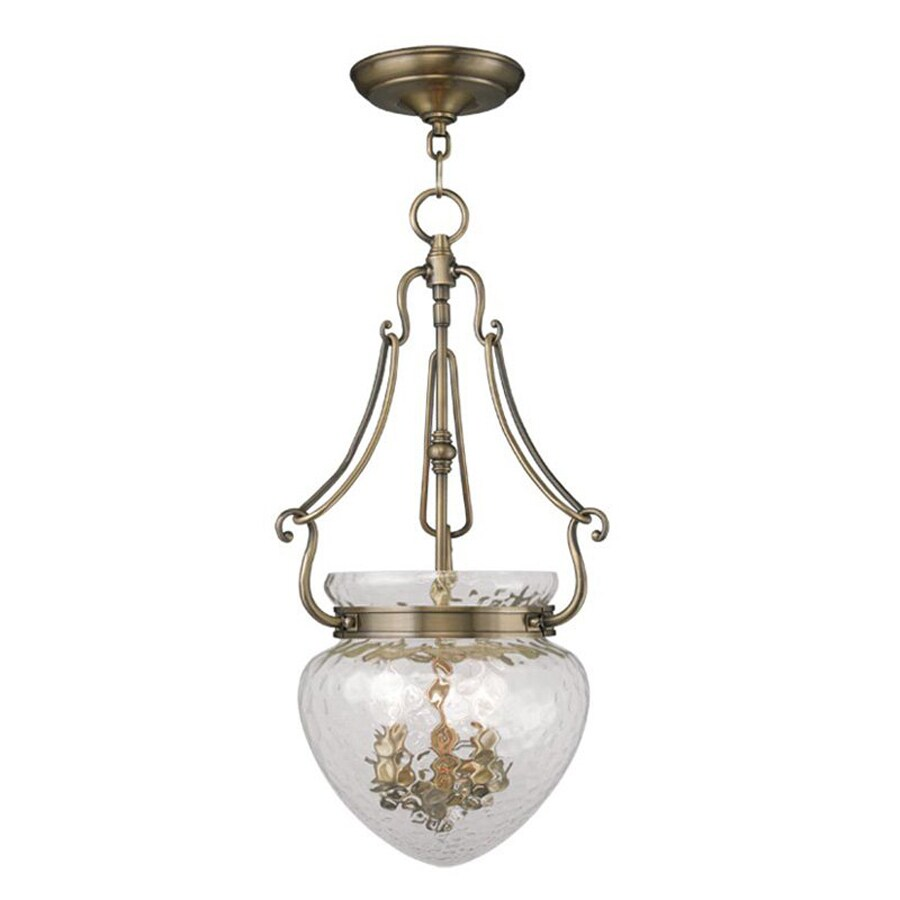 Livex Lighting Duchess 12-in Antique Brass Vintage Single Textured Glass Acorn Pendant