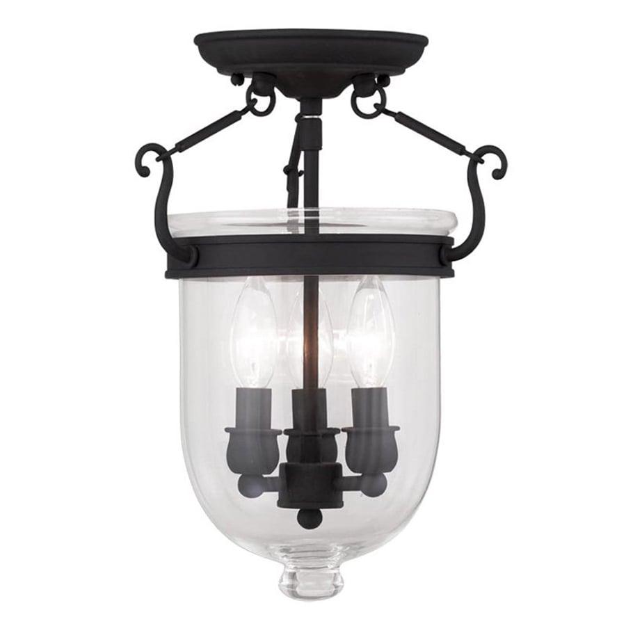 Livex Lighting Brookside 10-in W Black Clear Glass Semi-Flush Mount Light