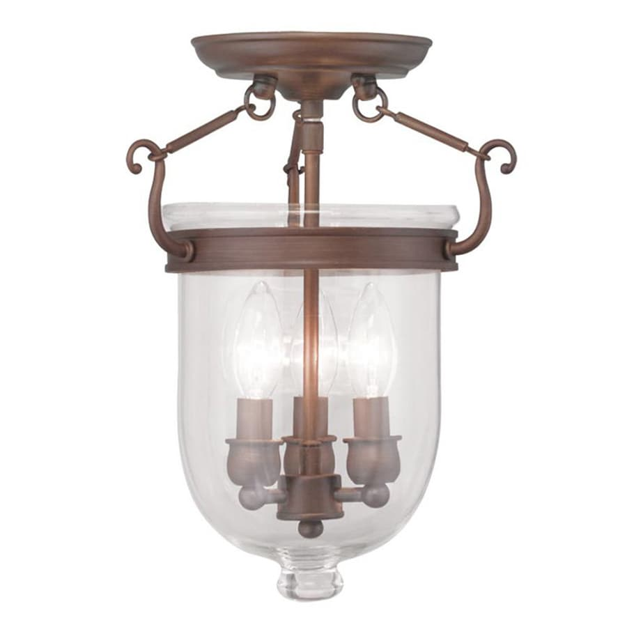 Livex Lighting Brookside 10-in W Vintage Bronze Clear Glass Semi-Flush Mount Light