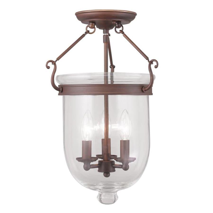 Livex Lighting Jefferson 12-in W Vintage Bronze Clear Glass Semi-Flush Mount Light