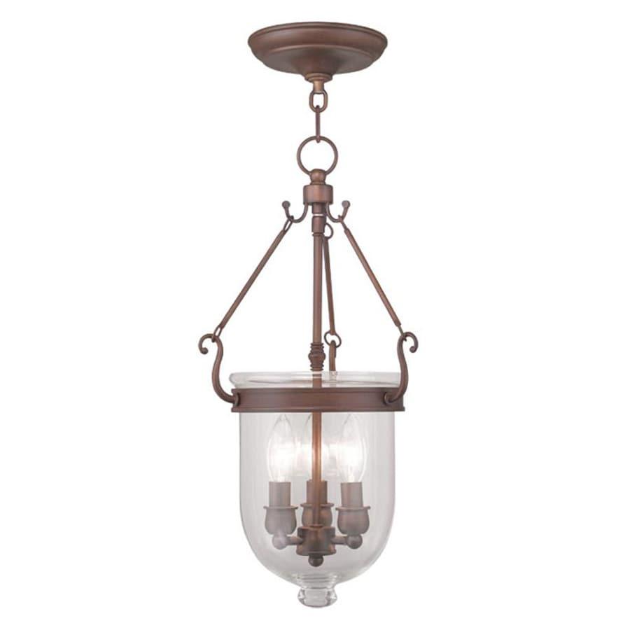 Livex Lighting Jefferson 10-in Vintage Bronze Vintage Single Clear Glass Urn Pendant
