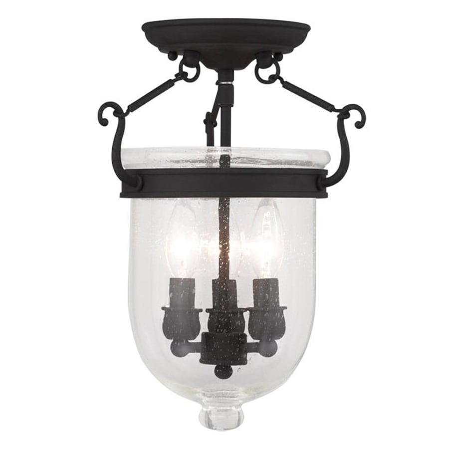 Livex Lighting Jefferson 10-in W Black Clear Glass Semi-Flush Mount Light