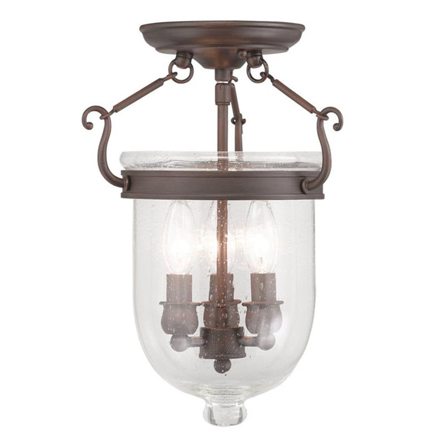 Livex Lighting Jefferson 10-in W Imperial bronze Clear Glass Semi-Flush Mount Light