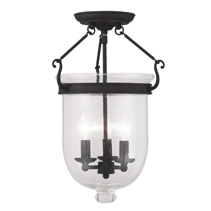 Livex Lighting Jefferson 12-in W Black Clear Glass Semi-Flush Mount Light