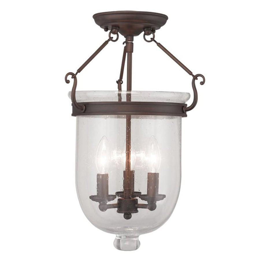 Livex Lighting Jefferson 12-in W Imperial bronze Clear Glass Semi-Flush Mount Light