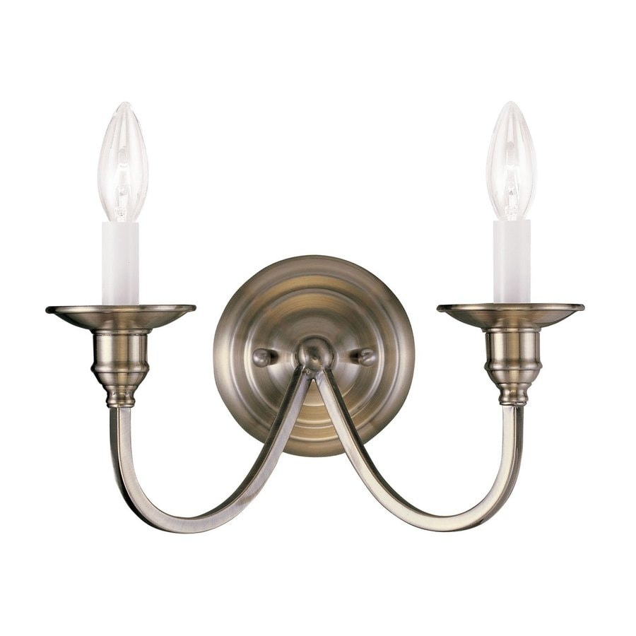 Candle Wall Sconces Antique : Shop Livex Lighting Cranford 13-in W 2-Light Antique Brass Candle Wall Sconce at Lowes.com