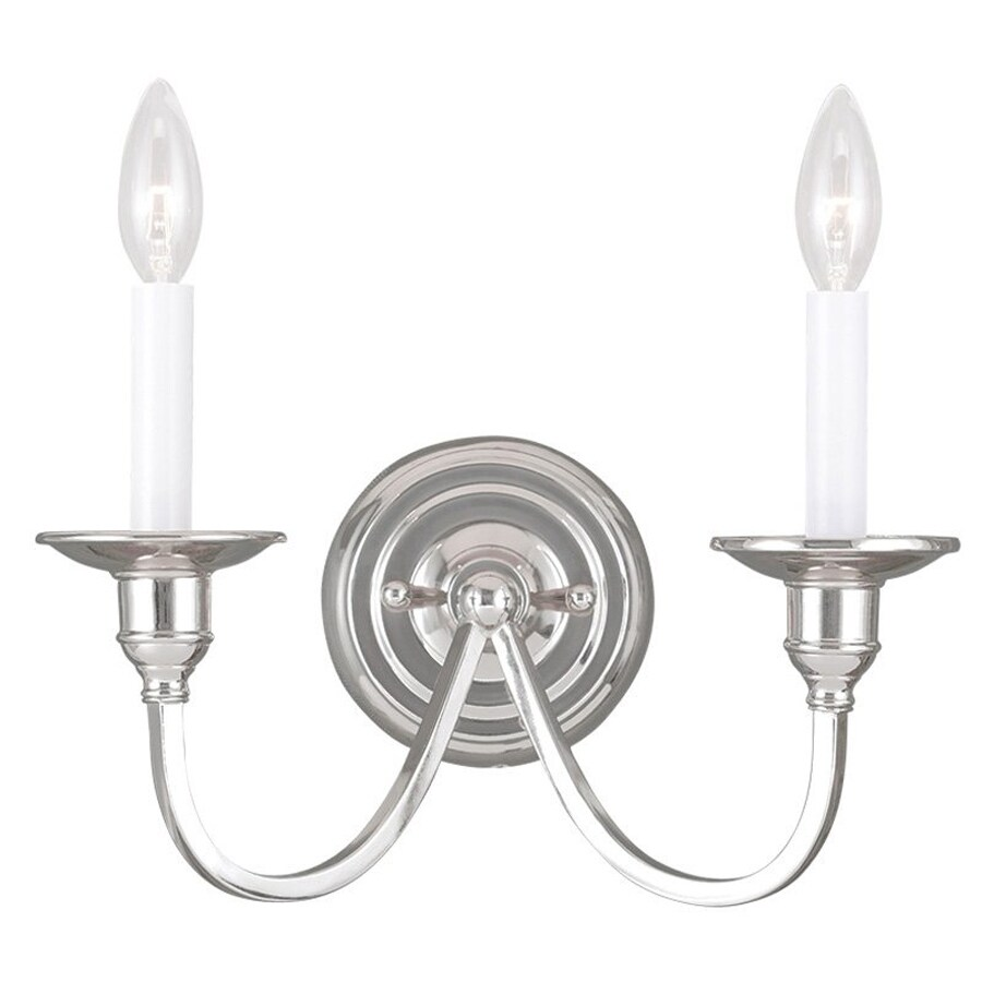 Livex Lighting Cranford 13-in W 2-Light Polished nickel Candle Wall Sconce