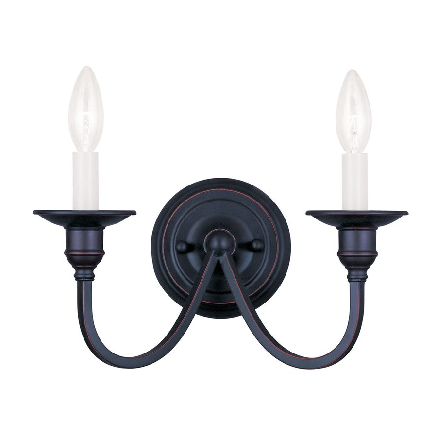 Livex Lighting Cranford 13-in W 2-Light Olde Bronze Candle Wall Sconce