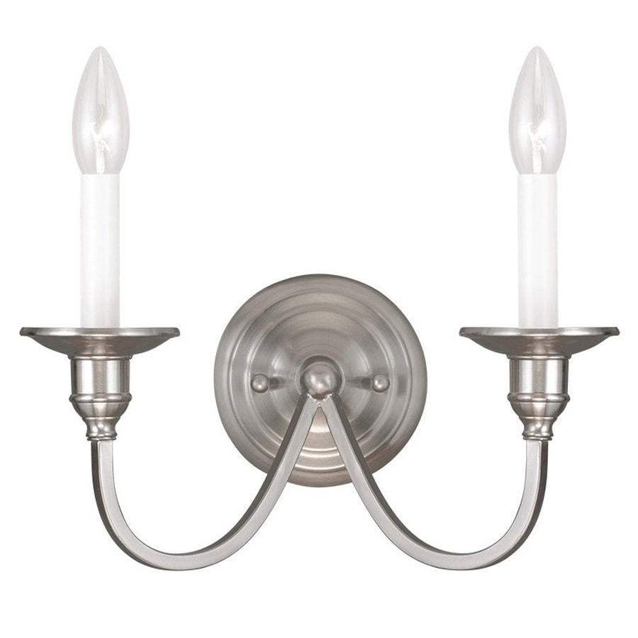 Livex Lighting Cranford 13-in W 2-Light Brushed nickel Candle Wall Sconce