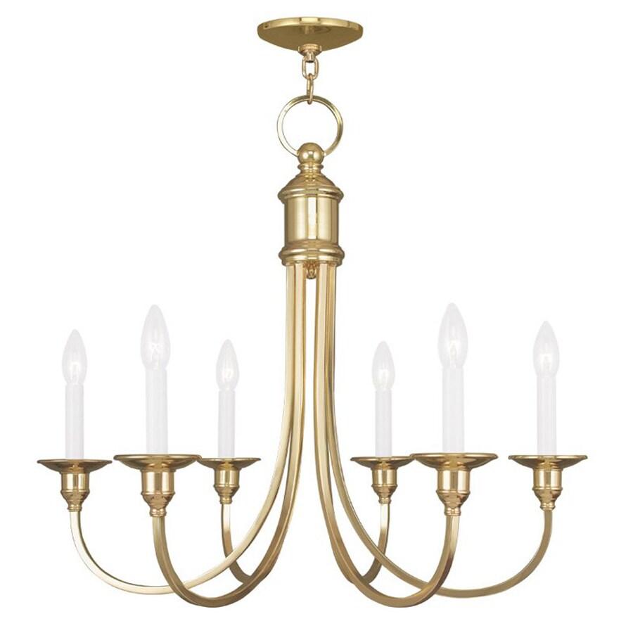 Livex Lighting Cranford 26-in 6-Light Polished Brass Candle Chandelier
