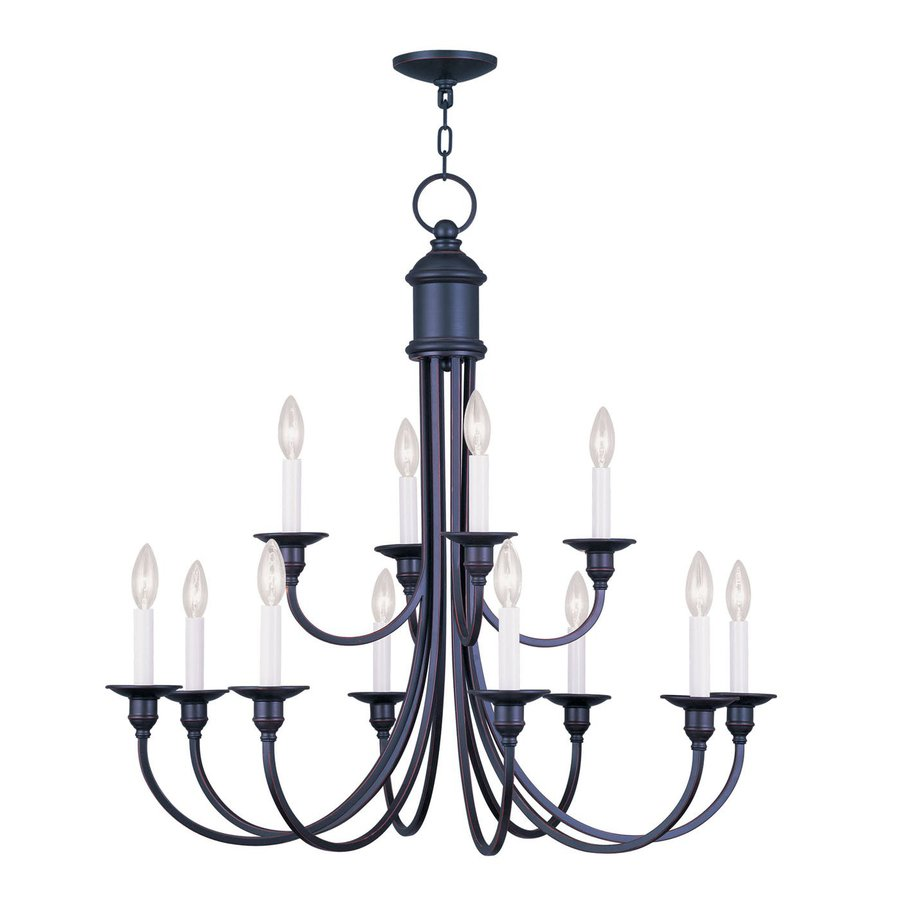 Livex Lighting Cranford 34-in 12-Light Olde Bronze Candle Chandelier