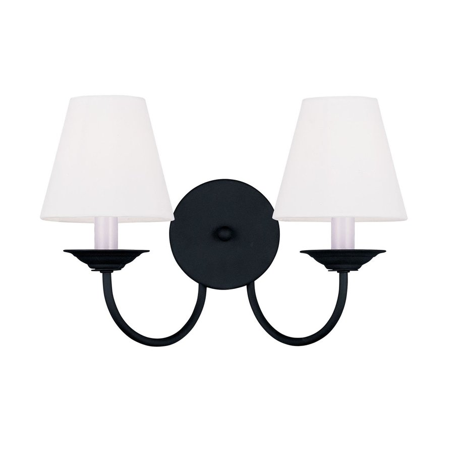 Livex Lighting Mendham 15-in W 2-Light Black Arm Hardwired Wall Sconce