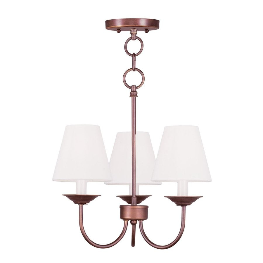Livex Lighting Mendham 15-in 3-Light Vintage Bronze Shaded Chandelier