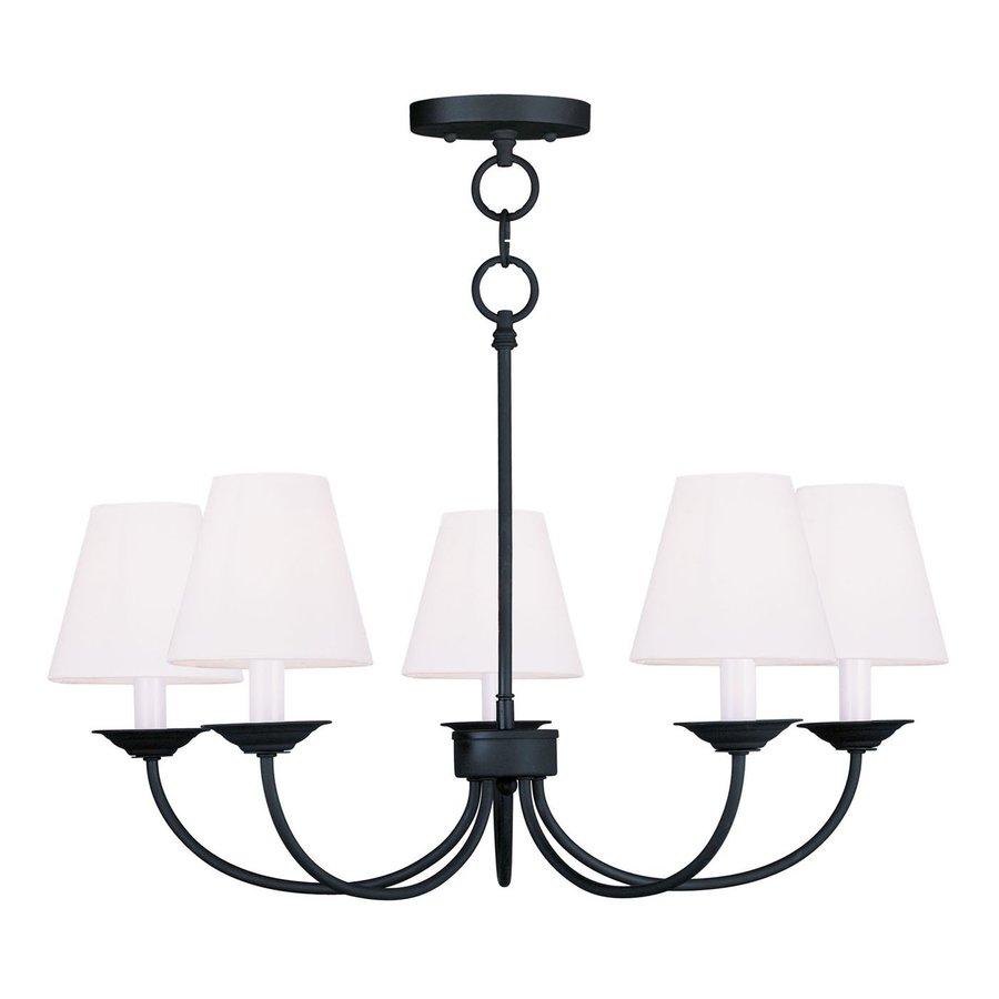 Livex Lighting Mendham 25-in 5-Light Black Shaded Chandelier