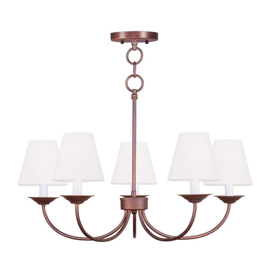Livex Lighting Mendham 25-in 5-Light Vintage Bronze Shaded Chandelier