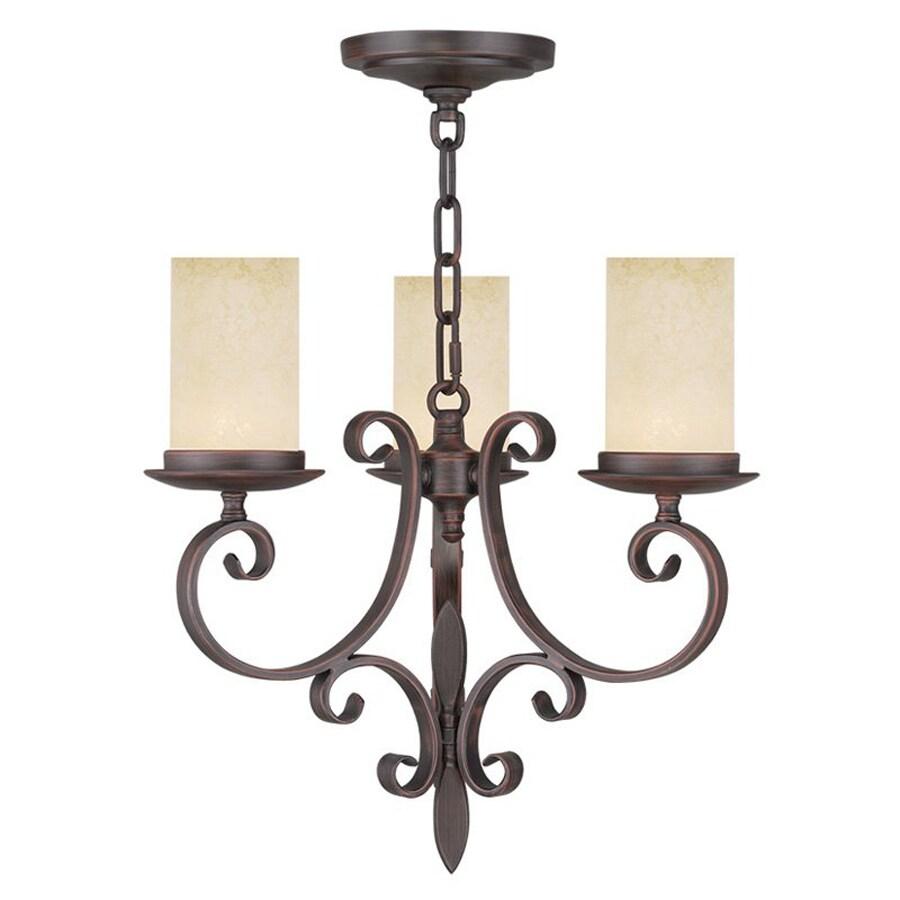 Livex Lighting Millburn Manor 16.75-in 3-Light Imperial Bronze Mediterranean Candle Chandelier