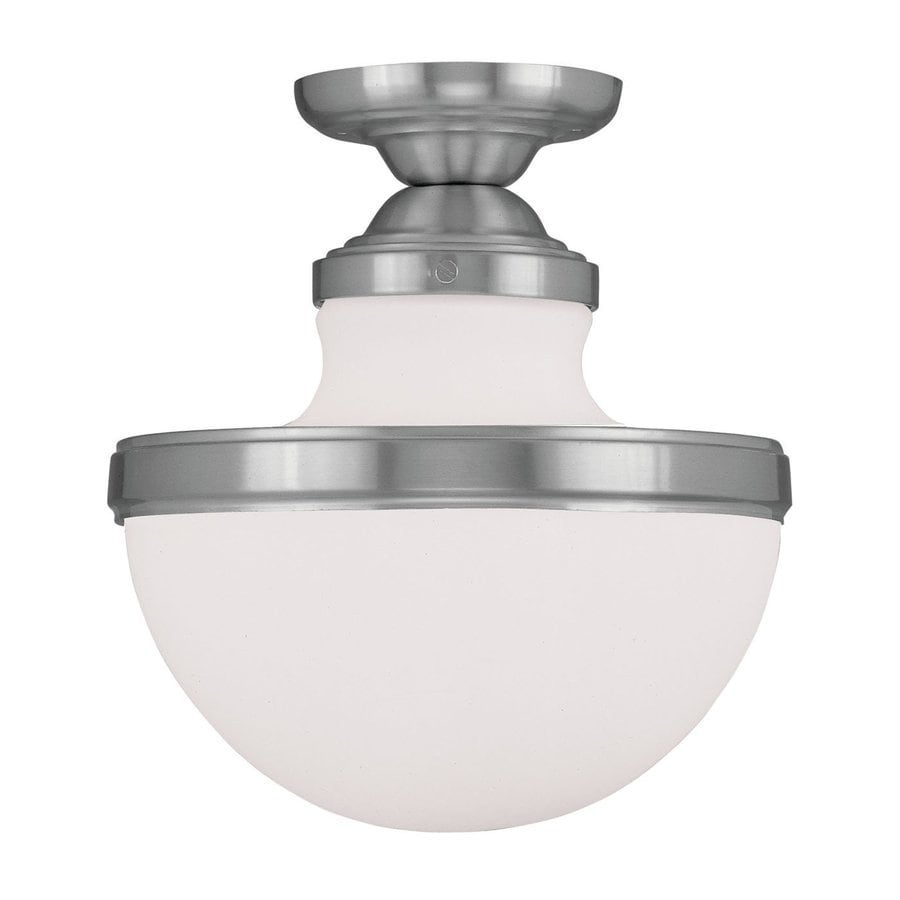 Livex Lighting Oldwick 10.25-in W Brushed Nickel Frosted Glass Semi-Flush Mount Light