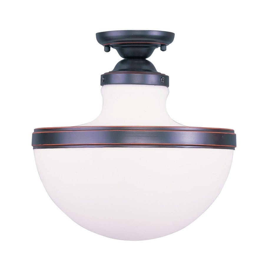 Livex Lighting Oldwick 13-in W Olde Bronze Frosted Glass Semi-Flush Mount Light
