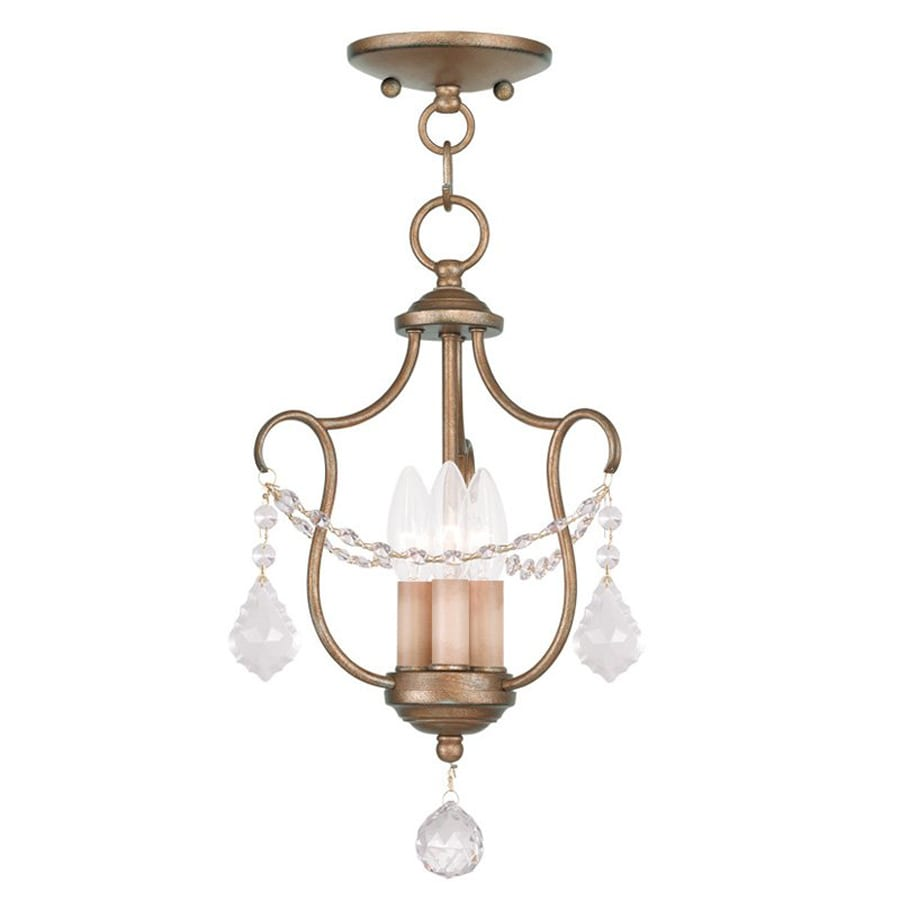 Livex Lighting Oldwick 10-in W Antique Gold Leaf Shades Semi-Flush Mount Light