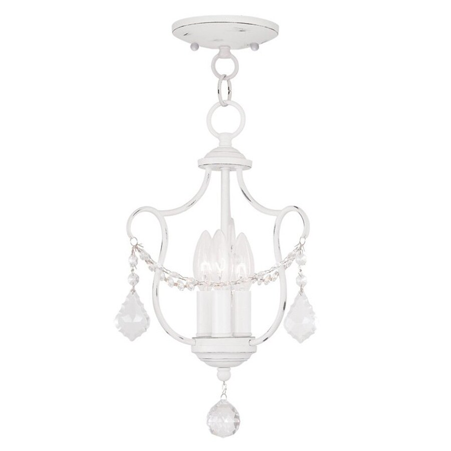 Livex Lighting Chesterfield 10-in W Antique White Shades Semi-Flush Mount Light
