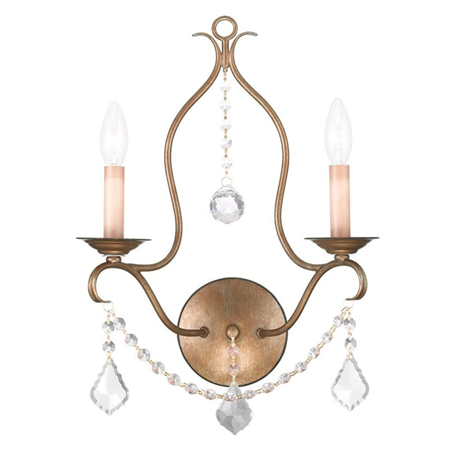 Livex Lighting Chesterfield 12-in W 2-Light Antique Gold Leaf Candle Hardwired Wall Sconce
