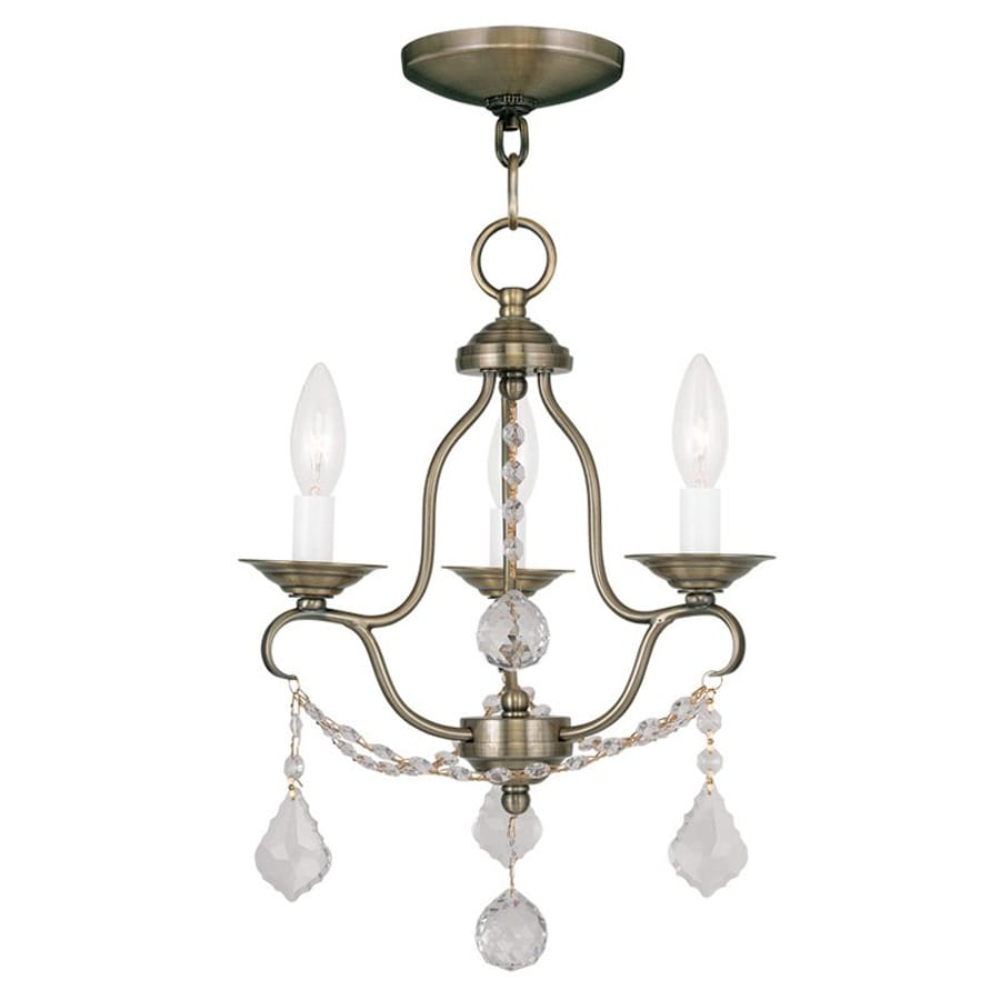 Livex Lighting Chesterfield 12-in 3-Light Antique brass Vintage Candle Chandelier