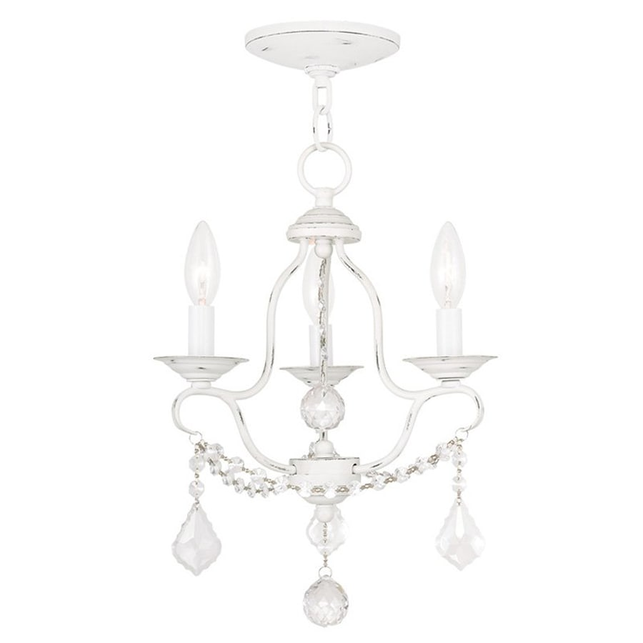 Livex Lighting Chesterfield 12-in 3-Light Antique White Vintage Candle Chandelier