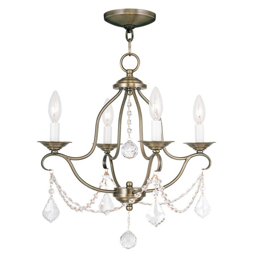 Livex Lighting Chesterfield 18-in 4-Light Antique Brass Vintage Candle Chandelier