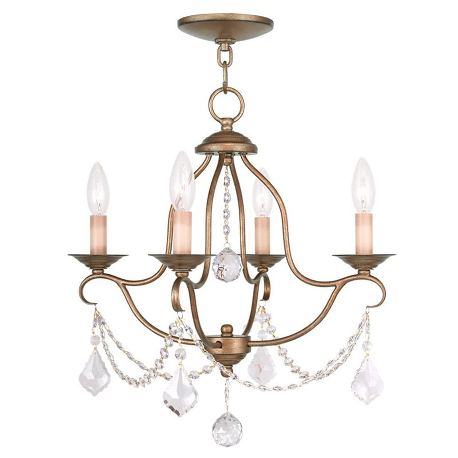 Livex Lighting Chesterfield 18-in 4-Light Antique Gold Leaf Vintage Candle Chandelier