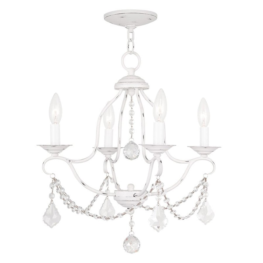 Livex Lighting Chesterfield 18-in 4-Light Antique White Vintage Candle Chandelier